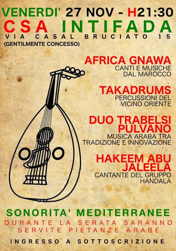 Concerto Sonorità mediterranee- Intifada 27  novembre
